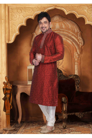 Garnet Red with White Color Silk Kurta  Set