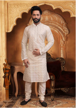 Off White Color Silk Kurta  Set