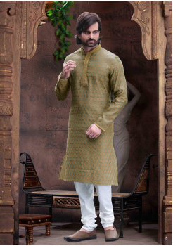 Pickle Green Color Silk Kurta  Set