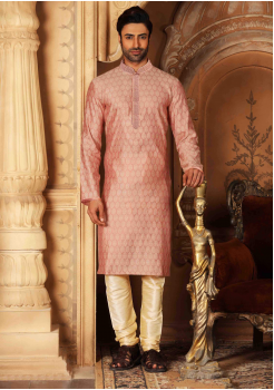 Rose with Cream Color Silk Kurta  Set