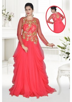 Fancy draped red embroidered gown