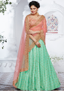 Peach and Rama green color jacquard fabric Designer Lehenga Choli