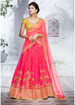Pink and Mustard color Net with work Designer Lehenga Choli