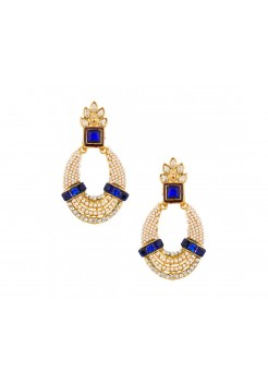 Blue stones earring studded with pearls and stones