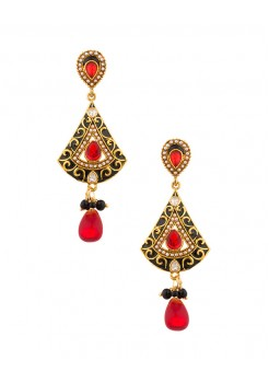 Black and red dangler earrings