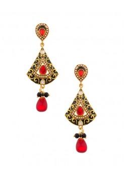 Black and red dangler earrings