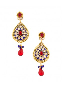 Blue and red dangler earrings