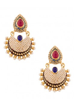 Blue and red pearls studded earrings