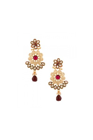 Maroon pearls studded earrings