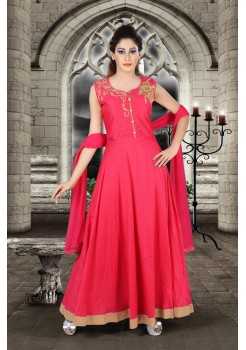 Bright Rani pink color with work new Designer Anarkali suit