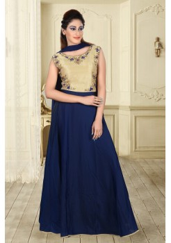 Navy Blue and Gold cream color with work new Designer Anarkali suit