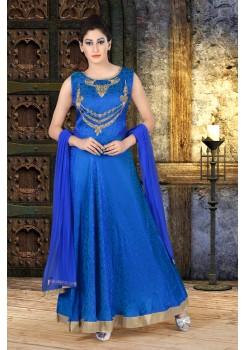Blue color with work new Designer Anarkali suit
