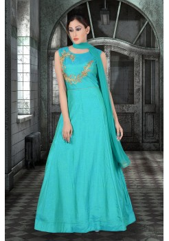 Greenish Blue color with rich Embroidery  work new Designer Anarkali suit
