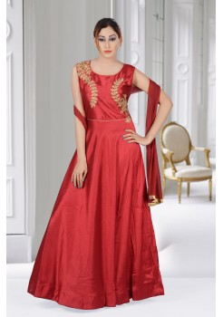 PRETTY MAROON COLOR SILK GOWN