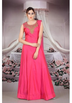 Rani Pink color with rich Embroidery  work new Designer Anarkali suit