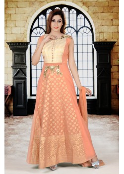 Peach/gold cream color with rich Embroidery  work new Designer gown