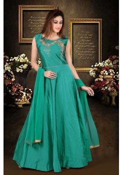 Peacock Blue color with rich Embroidery  work new Designer Gown