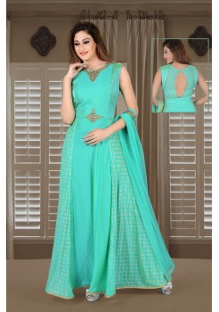 Sea Green color with rich Embroidery  work new Designer gown
