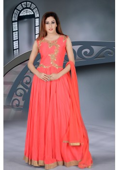 Orange with Gold rich Embroidery work new Designer Gown