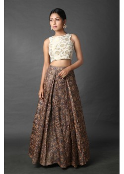 Intricate Indian printed skirt and crop top