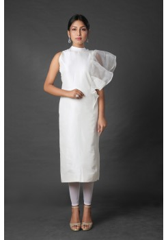 Pristine white straight dress with a modified attached dupatta
