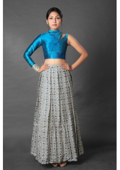 Trendy Turquoise asymmetrical crop top and pleated skirt