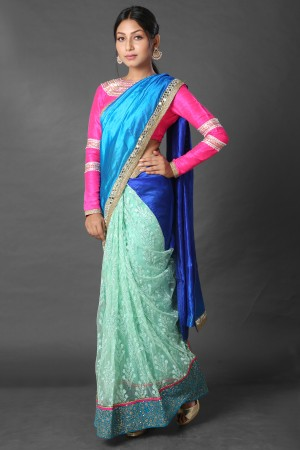 Pista green net and 4-D dyed silk half and half saree