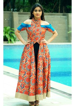 Multicolor off-shoulder kurti