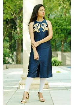 Blue silk kurti with thread embroidery