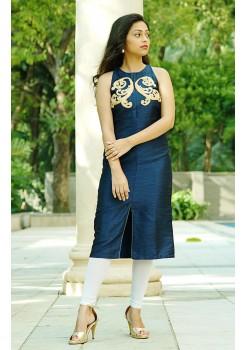 Blue silk kurti with thread embroidery