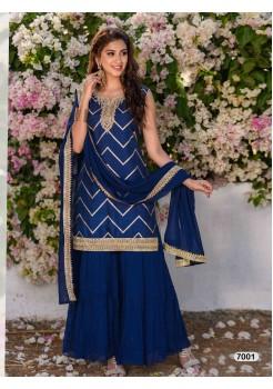 Designer Royal Blue Sharara