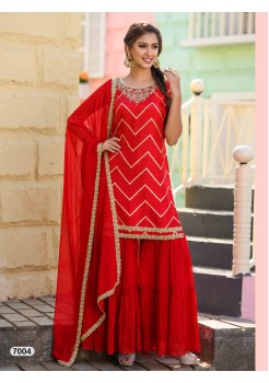 Designer Red Color Sharara