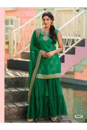 Designer Dark Green Sharara