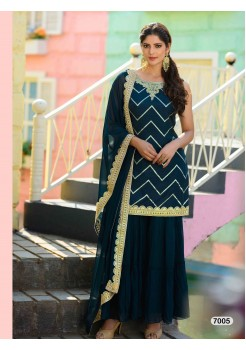 Designer Dark Bluish Navy Sharara