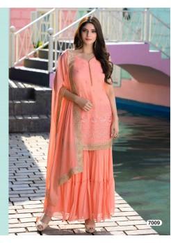 Designer Peach Color Sharara