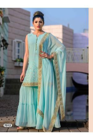 Designer Light Blue Sharara