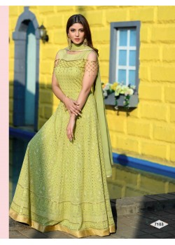 Designer Lime Green  Color Anarkali Gown
