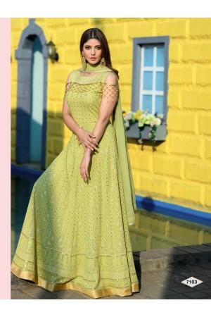 Designer Lime Green  Color Anarkali Gown