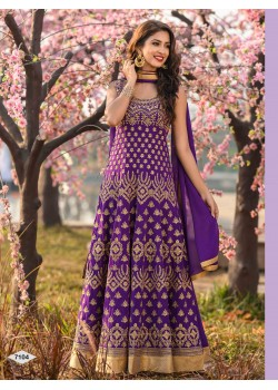 Designer Purple Color Anarkali Gown