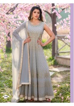 Grey Color Anarkali Gown