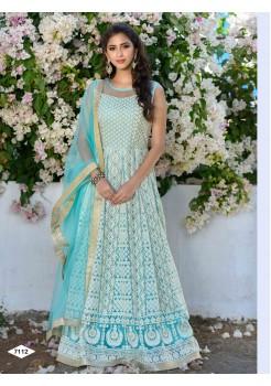 Designer Light  Blue Color Anarkali Gown