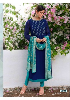 Stylish Navy Blue  Straight Cut Chudidar