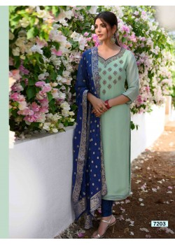 Designer Greenish Blue Straight Cut Chudidar