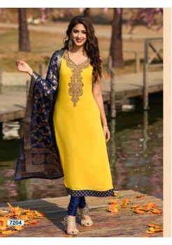 Designer Yellow Straight Cut Chudidar