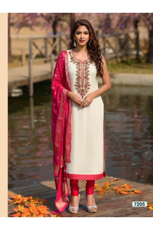 White and Pink  Straight Cut Chudidar