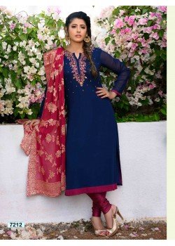 Traditional Blue & Pink Straight Cut Chudidar