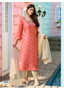 Peach Orange Straight Cut Pant Chudidar