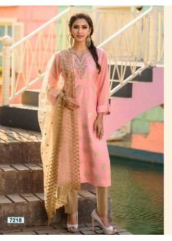 Pink & Gold Straight Cut Pant Chudidar