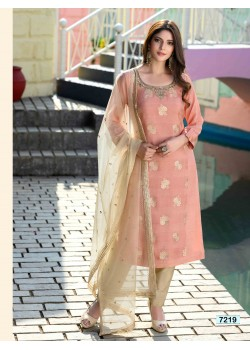 Light Pink  Gold Straight Cut Pant Chudidar