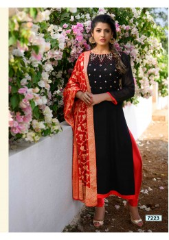 Black & Red  Straight Cut  Chudidar